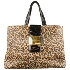 DOLCE & GABBANA Brown Leopard Vinyl & Black Patent Leather Tote Bag