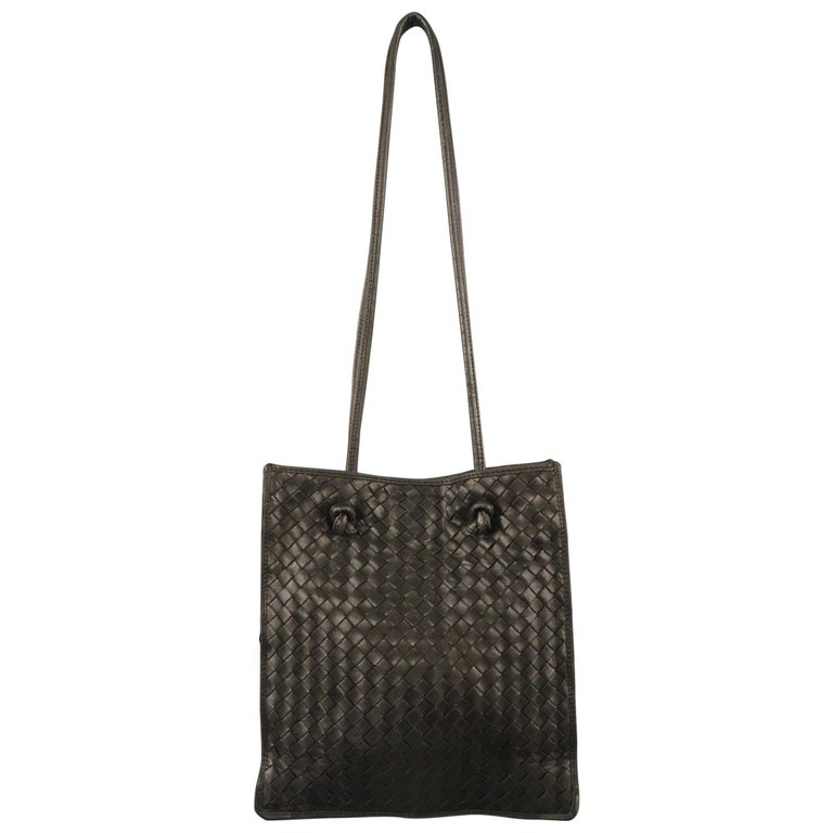 82353fb564 Vintage BOTTEGA VENETA Brown Intrecciato Woven Leather Shoulder Bag For  Sale at 1stdibs