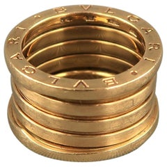 BVLGARI 7 18k Gold 4 Row Band B. Zero 1 Ring