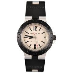 BVLGARI Black Rubber Matte Silver Aluminum l DIAGONO Watch