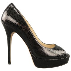 JIMMY CHOO Size 9 Black Lizard Leather Peep Toe Platform Pumps