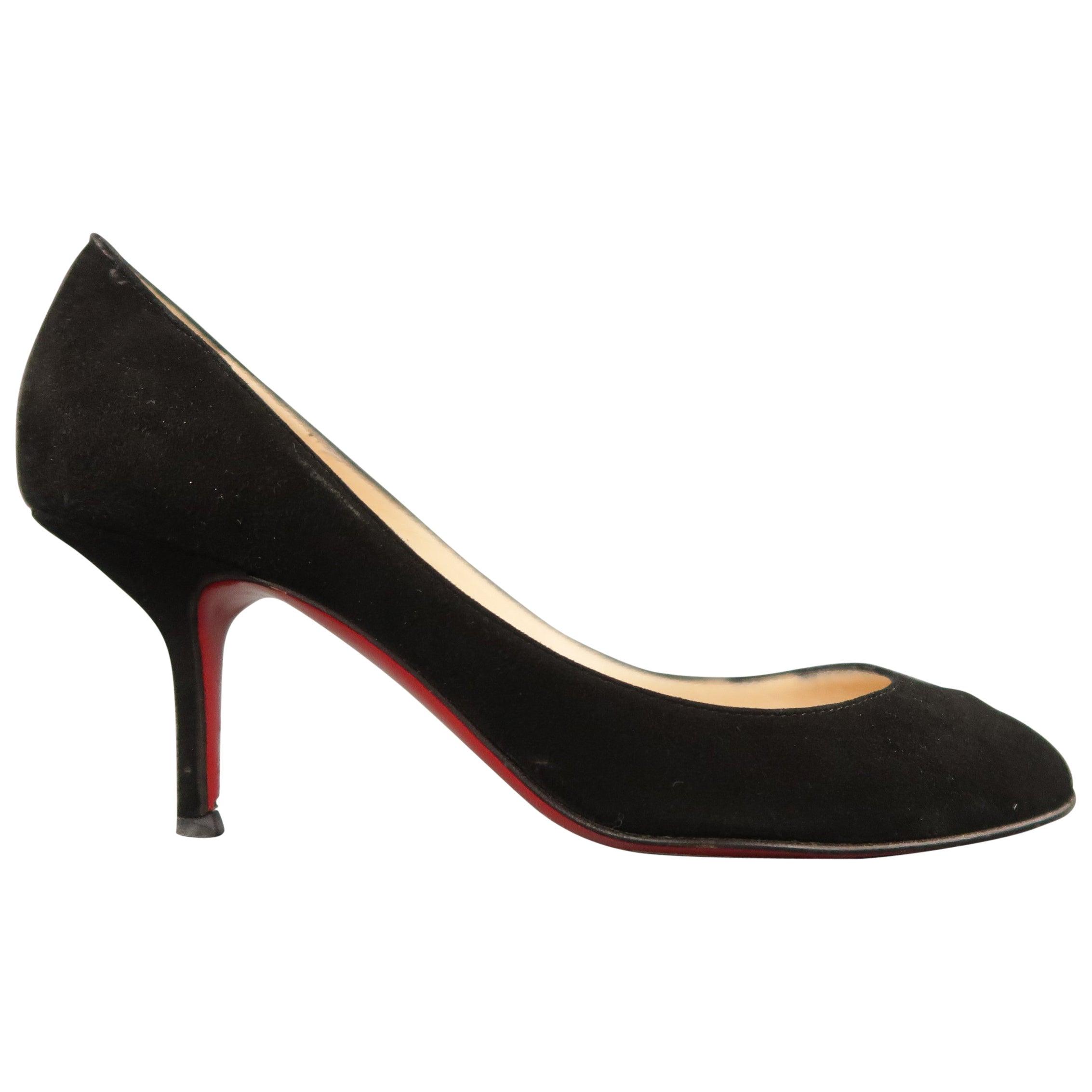 059da222839 CHRISTIAN LOUBOUTIN Size 6.5 Black Suede Peep Toe Kitten Heel Pumps