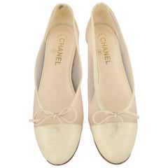 CHANEL Size 8.5 Beige Leather Pink Mesh CC Bow Cap Toe Flats