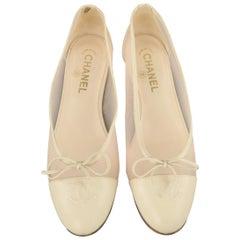 Chanel Beige Leder Rosa Netz CC Schleifen Ballerina, Größe 8,5