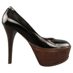 MARNI Size 5.5 Black & Brown Patent Leather Platform Pumps