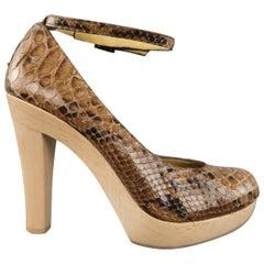 LANVIN Size 6 Tan Snake Skin Wooden Platform Ankle Strap Pumps