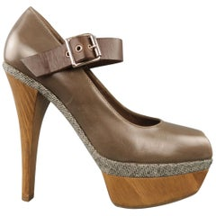 MARNI Size 6 Taupe Leather Mary Jane Wooden Platform Pumps