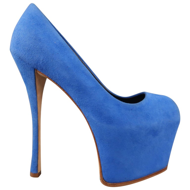 798cdf347ef GIUSEPPE ZANOTTI Size 5 Blue Suede Platform Liza Pumps For Sale at ...