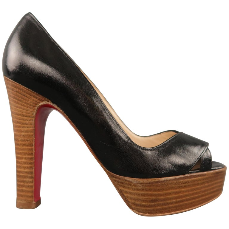 CHRISTIAN LOUBOUTIN Size 5.5 Black Leather Peep Toe Stacked Platform Pumps For Sale