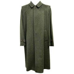Aquascutum Hunter Green Wool Men's Trench Coat