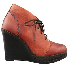 RAG & BONE Size 7 Brown Leather Black Wedge Ankle Boots