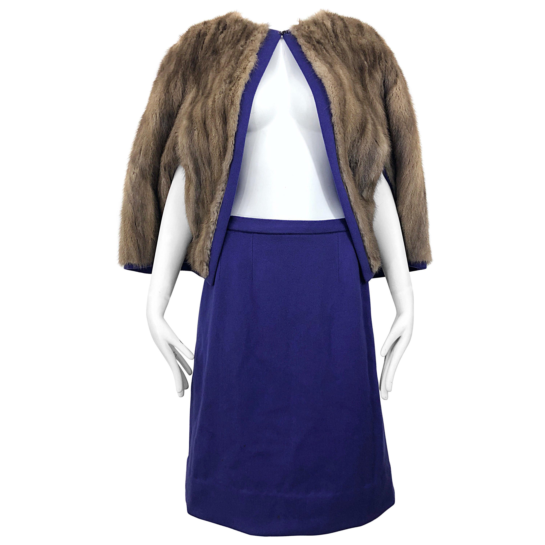 Chic 1960s Sable Fur Reversible Purple / Brown Cape + A Line Wool Vintage Skirt