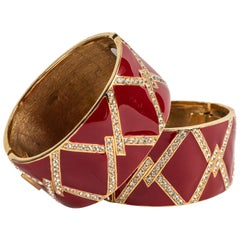 A Pair of Red Enamel and Rhinestone Cuffs by Ciner