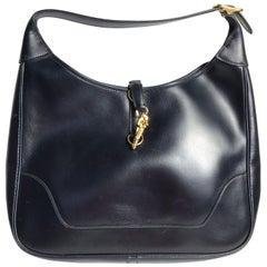 1978 Vintage Hermès trimmen dunkel Blaue Box Kalb Schultertasche