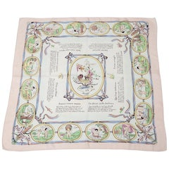 """1947 Hermes """"Les Amours"""" Silk Twill Carre Scarf"""