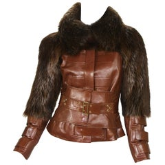 Tom Ford for Gucci F/W 2003 Collection Cognac Color Leather Fur Corset Jacket 42