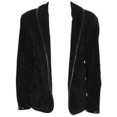Gucci Black Suede W/ Leather Trim Jacket