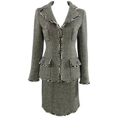 Chanel 06A Wool Herringbone Skirt Suit