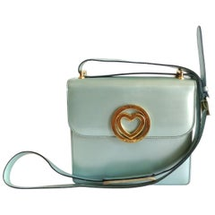 1990s Moschino Baby Blue Patent Leather Shoulder Bag