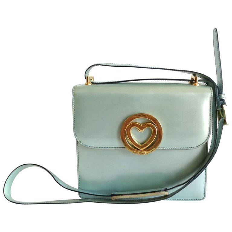 1990s Moschino Baby Blue Patent Leather Shoulder Bag  For Sale