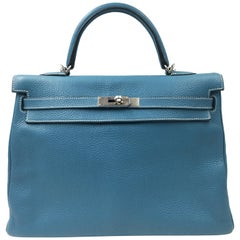 Hermès Kelly Blue Jean 35cm Azur Togo Leather Shoulder Bag