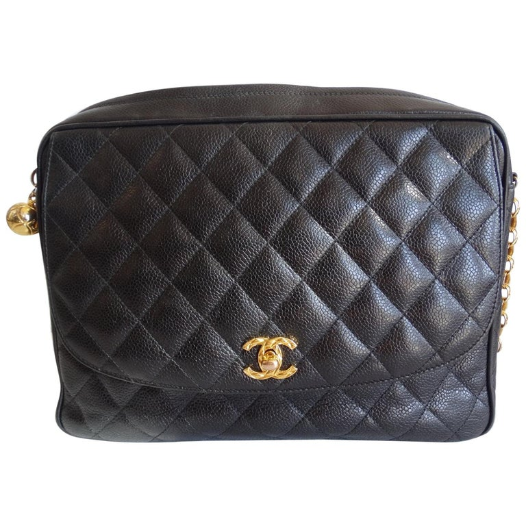 1980s Chanel Classic Black Caviar Leather Bag  For Sale
