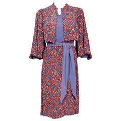 1930's Floral Print Lilac Rose Rayon Scalloped Jacket Billow-Sleeve Day Dress