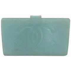 Chanel Blue ( Rare ) Caviar Leather Cc Bifold Long 216028 Wallet