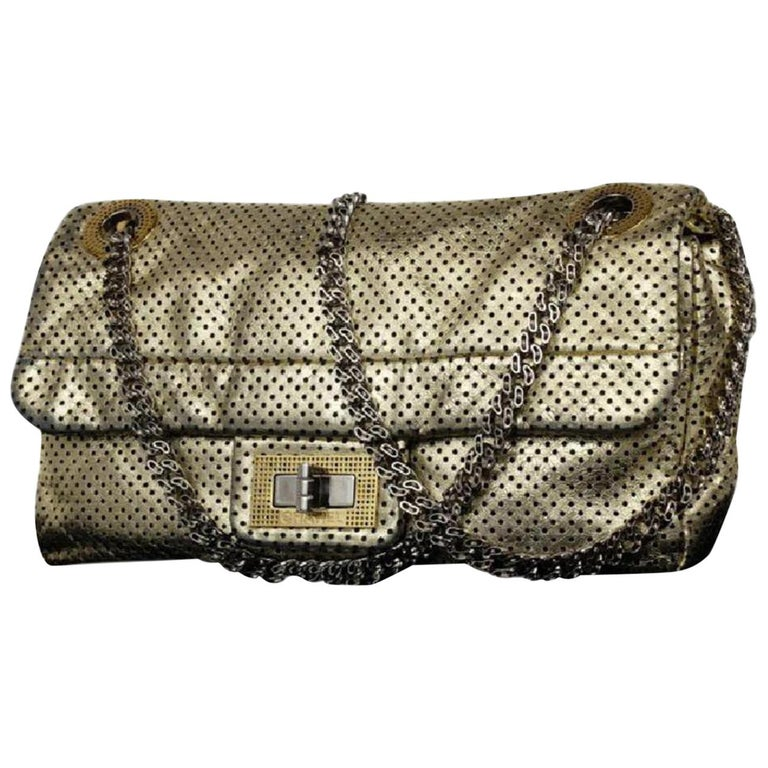 c72ba28021f3 Chanel Classic Flap ( Rare ) Perforated Drill 215368 Gold Leather Shoulder  Bag For Sale