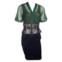 Byron Lars Green and Purple Lace w/ Wide Bustier Belt - 4