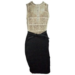 Byron Lars Black And Beige Lace w/ Ribbon Belt Dress - 4