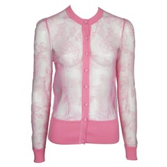 Valentino Neon Pink Lace Sheer w/ Cotton Trim Cardigan - Small