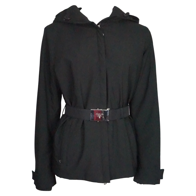 Prada Black Puffer Nylon w/ Silver Buckle Belt Jacket - Medium