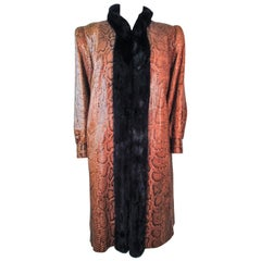 1970's Snakeskin Coat with Mink Trim and Sheared Detachable Lining Size 4 6 8