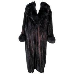 Dark Brown Mink Coat with Fox Fur Cuffs & Collar Size 8 10 12