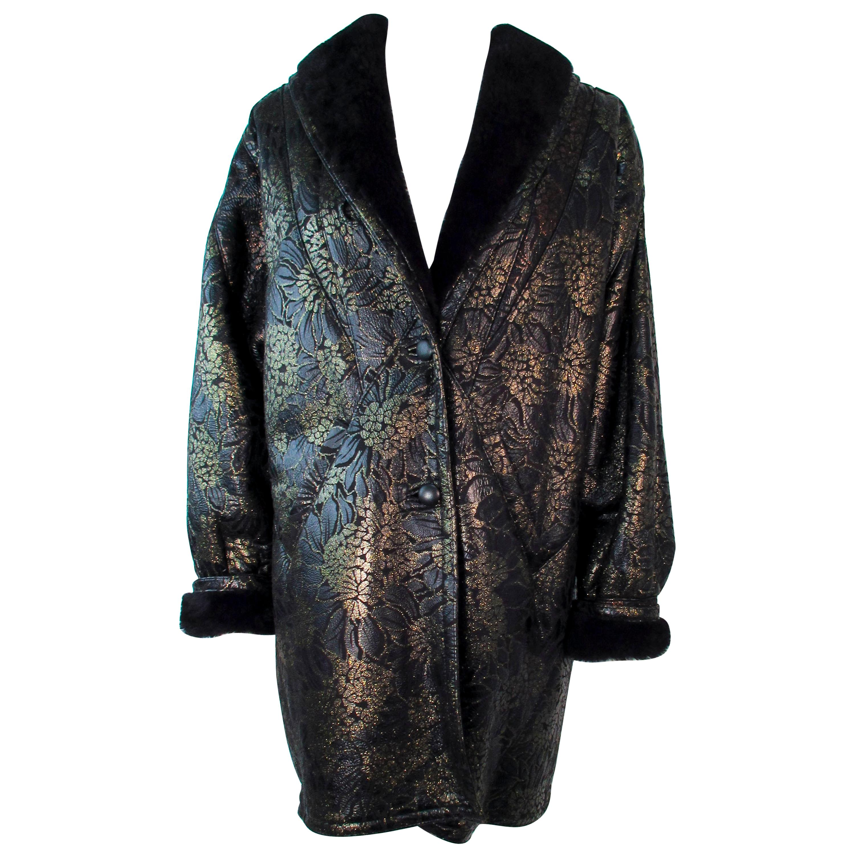 ADRIENNE LANDAU Spanish Shearling Leather Metallic Floral Pattern Coat Size 6 8