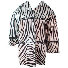 AMEN WARDY Zebra Pattern Cowhide Coat Size 4 6 8