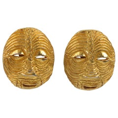 French Artisan Studio Signed Gilt Metal Tribal Mask Clip on Earrings