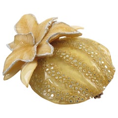 Cilea Paris Fantasy Pumpkin Light Yellow Resin Talosel Pin Brooch