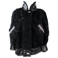 JACQUES SAINT LAURENT Black Lamb Jacket with Rhinestones & Snakeskin Trim 38