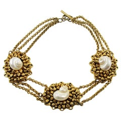 Chantal Thomass Paris Signed Gilt Resin and SeaShell Choker Necklace