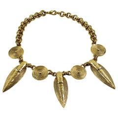 Guy Laroche Paris Choker Necklace Gilt Metal Tribal Pre-Colombian Inspired