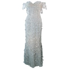 TONY WARD Silver Metallic Lace Gown Size 2 4