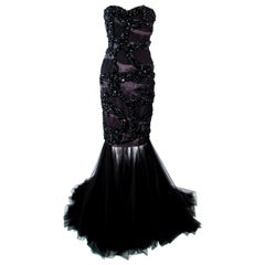 TONY WARD Black Beaded & Sequin Mesh Detachable Gown Size 2 4