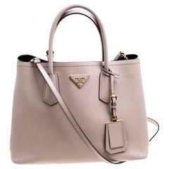 ca4fb65625b0 Prada Dusty Pink Leather Top Handle Bag. Prada Caramel Saffiano Lux Leather  Large Double ...
