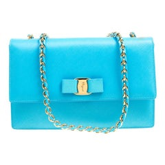 Salvatore Ferragamo Blue Leather Vara Shoulder Bag
