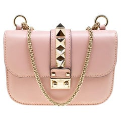Valentino Blush Pink Leather Rockstud Small Glam Lock Shoulder Bag
