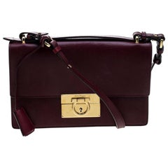 Salvatore Ferragamo Burgundy Leather Aileen Gancio Shoulder bag