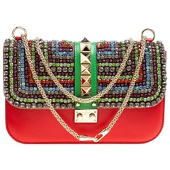 Valentino Multicolor Leather Medium Rockstud Crystal Embellished Glam Lock Flap