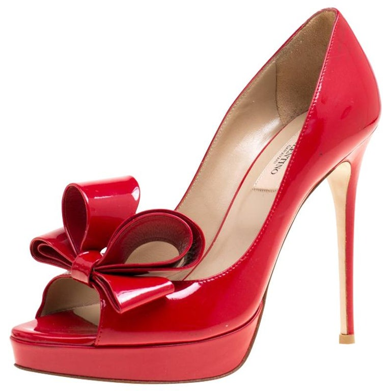 a8cf1d3b865 Valentino Red Patent Leather Couture Bow Peep Toe Platform Pumps Size 37  For Sale